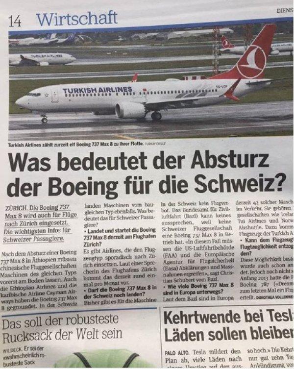 İsviçre gazetesi düşen uçak yerine THY fotoğrafı kullandı