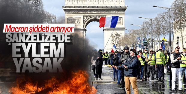 Macron, Champs Elysees Caddesi'ni eylemlere kapatıyor