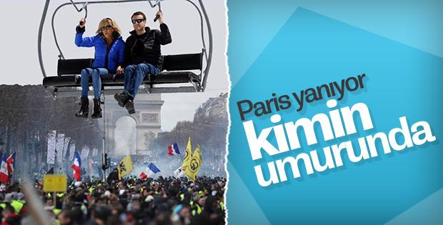 Macron çifti eylemler sırasında kayağa gitti