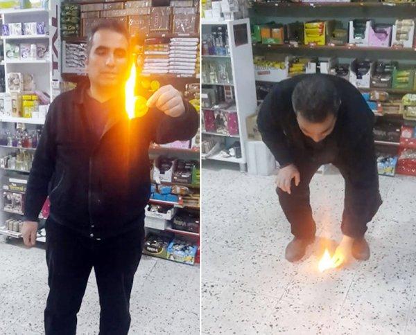 Bakkalın ateşe verdiği cips çabucak yandı