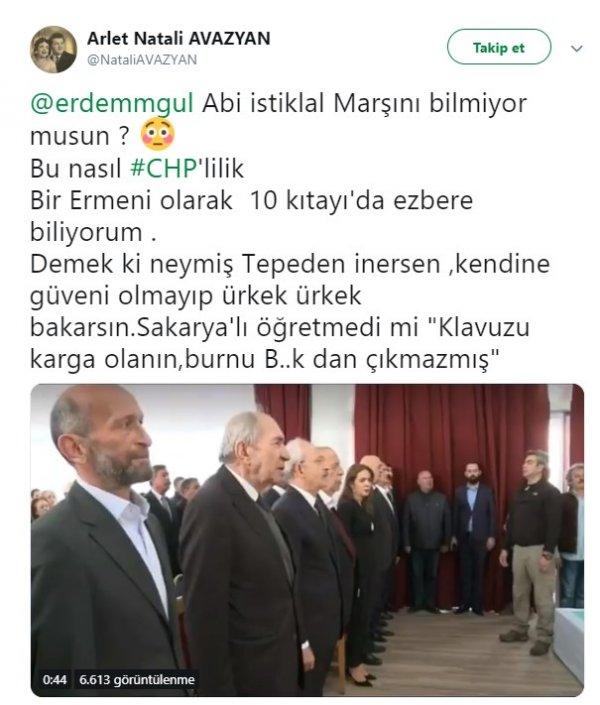 Ermeniler İstikal Marşı'nı okumayan Erdem Gül'e tepkili