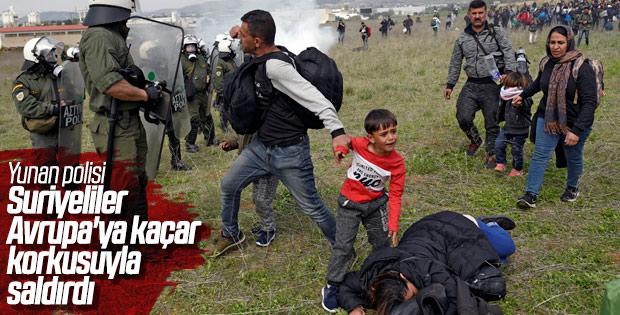 Sınırına dayanan göçmenlere Yunan polisinden müdahale