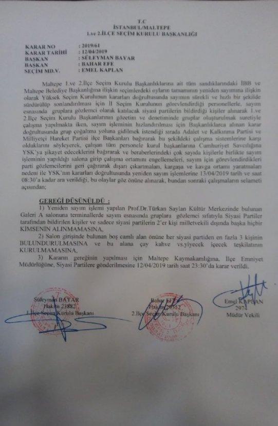 Maltepe'de oyların yeniden sayımına ara verildi