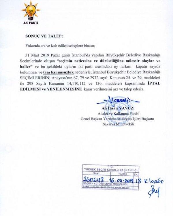 AK Parti'nin YSK'ya sunduğu itiraz dilekçesi