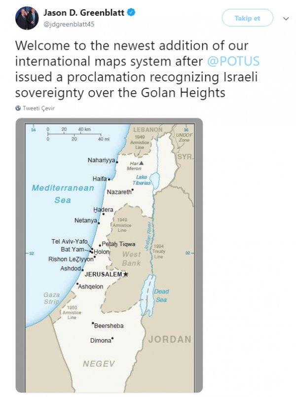 Trump'ın danışmanı İsrail haritası paylaştı