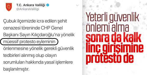 Ankara Valiliği'nden Kılıçdaroğlu'na saldırı açıklaması