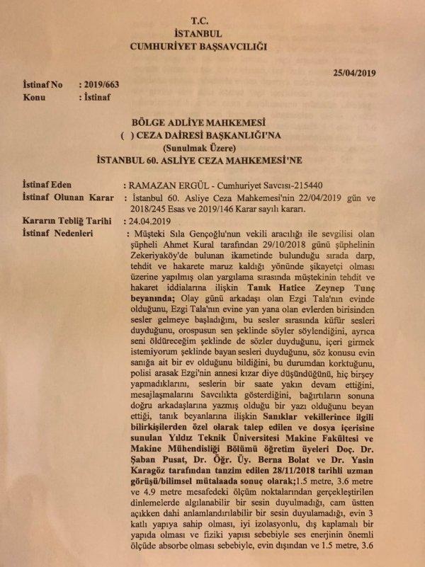 Sıla - Ahmet Kural davasında savcıdan karara itiraz