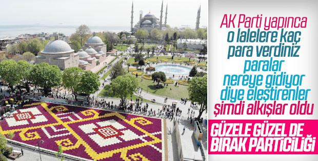Dünyanın en büyük lale halısı Sultanahmet'te