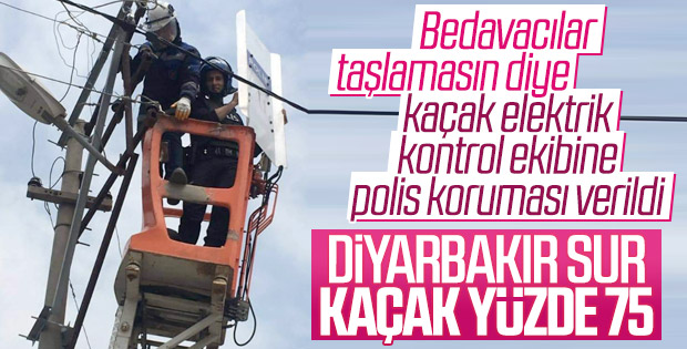 Diyarbakır'da elektrik ekipleri polis korumasında çalıştı