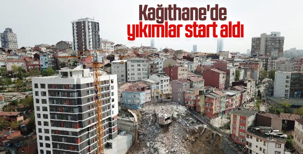 Kağıthane'deki riskli binaların yıkımına başlandı