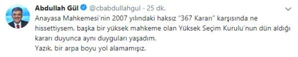 Abdullah Gül'den YSK'nın kararına ilk yorum