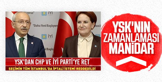YSK'dan CHP ve İyi Parti'ye ret