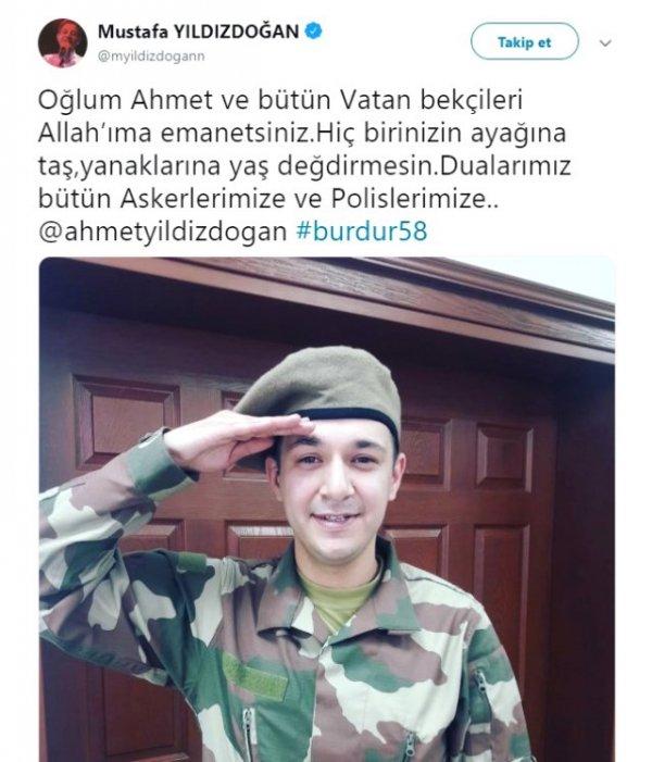 Mustafa Yıldızdoğan'ın oğlu bedelli askerlik yaptı