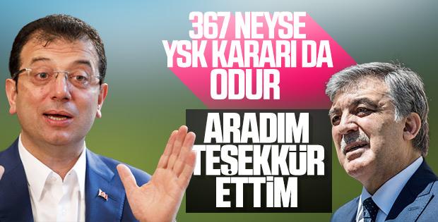 İmamoğlu, Abdullah Gül'ün açıklamasını değerlendirdi