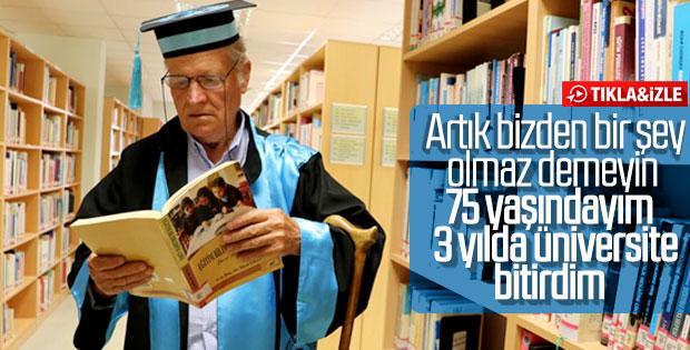 75 yaşında Trakya Üniversitesi Tarih Bölümü'nü bitirdi
