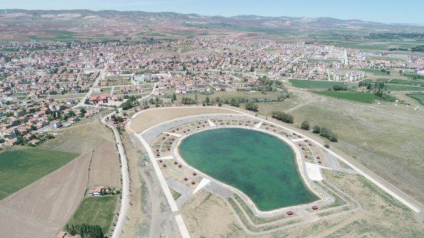 Uzaydan görülen AK Parti amblemli havuz