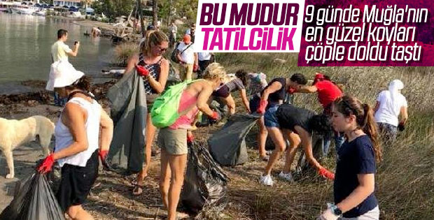 Muğla'da tatilciler çöpleri etrafa bıraktı