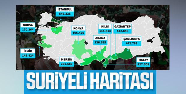 Suriyelilerin Türkiye'deki dağılımı