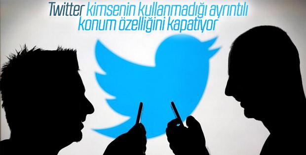 Twitter ayrıntılı konum özelliğini devre dışı bırakacak