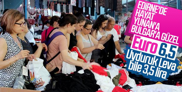 Edirne pazarı Yunan ve Bulgar turistle doldu