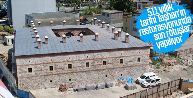 Tarihi Taşhan'ın restorasyon çalışmaları sürüyor