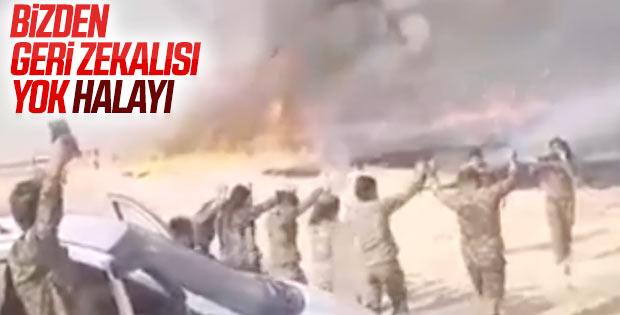 Tarım arazileri yanarken teröristler halay çekti
