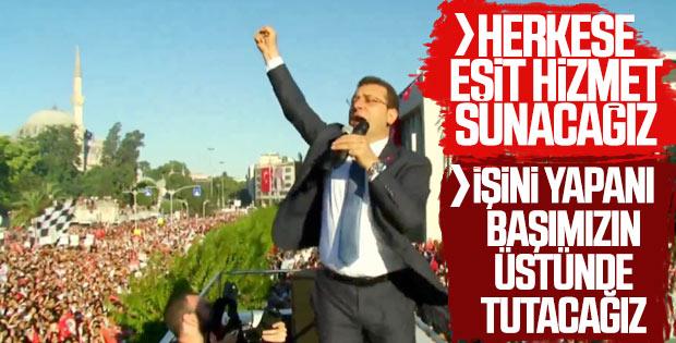 Ekrem İmamoğlu belediye binası önünde konuştu
