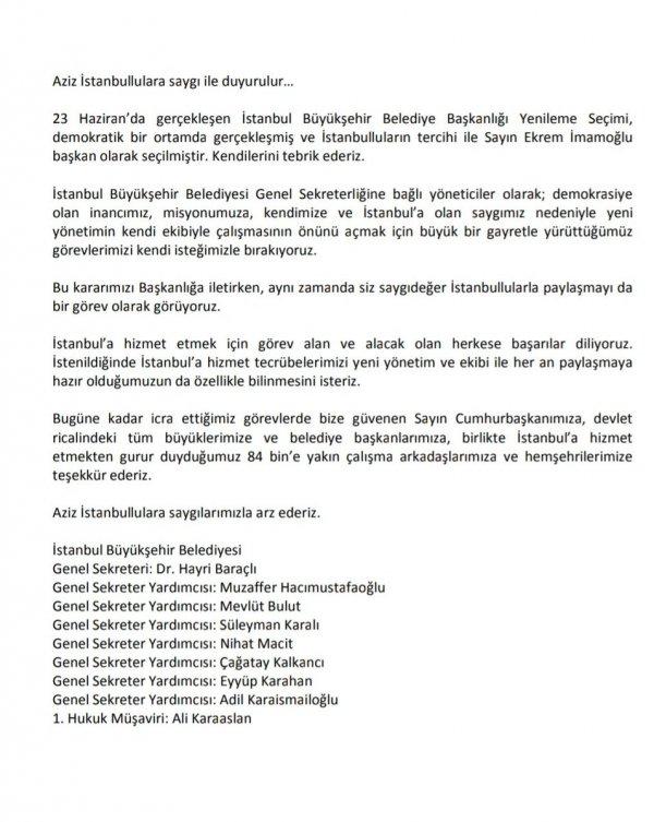 İBB'deki yöneticiler istifa etti