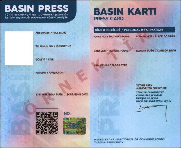 Pembe-mavi renkli basın kartları