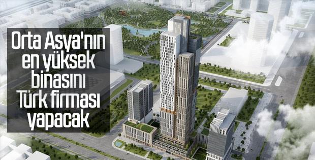Orta Asya'nın en yüksek binasının inşaatı Türk firmadan