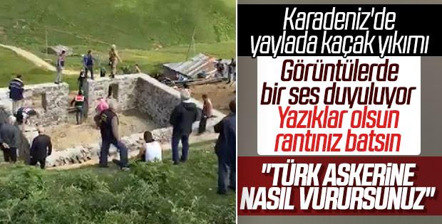 Gümüşhane'de kaçak yapı sahipleri askere saldırdı