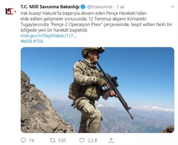 Milli Savunma Bakanlığı'ndan Pençe 2 Operasyonu