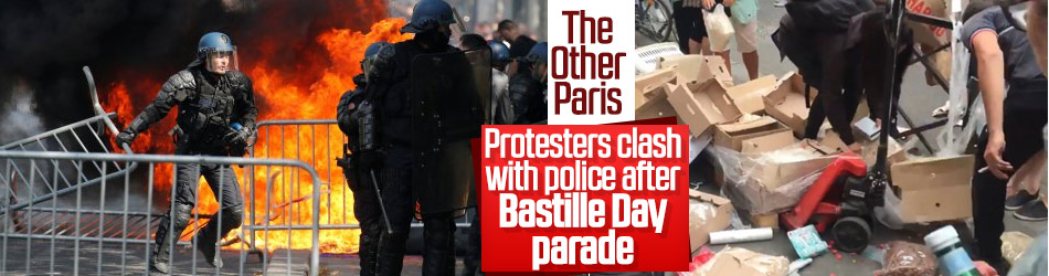 Protesters clash with police after Bastille Day parade