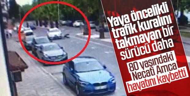 Otomobilin çarptığı yaşlı adam metrelerce savruldu