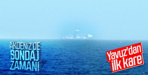 Yavuz, karadan 8 mil açıkta çalışmalarına başladı