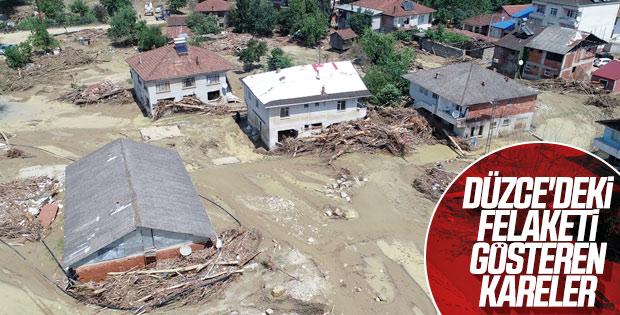 Düzce'deki sel felaketi havadan görüntülendi