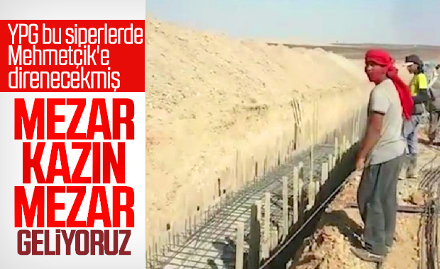 YPG'li teröristler siper kazmaya başladı