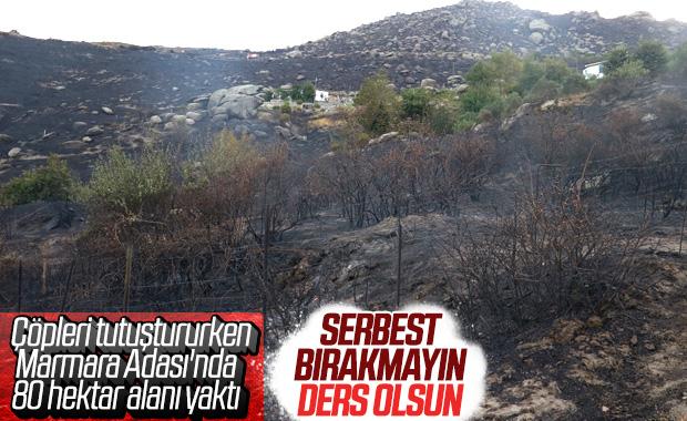 Marmara Adası'ndaki yangında 1 gözaltı
