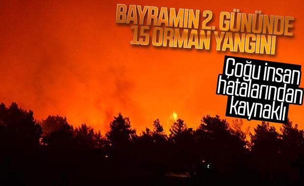 Türkiye'de 12 Ağustos'ta 15 orman yangını