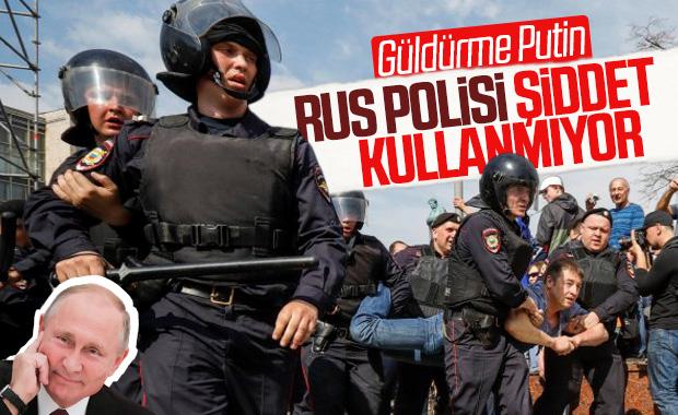 Kremlin'den protesto açıklaması: Polis aşırı güç kullanmıyor
