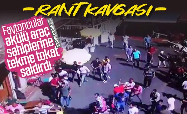Büyükada'daki faytoncu kavgasının görüntüleri