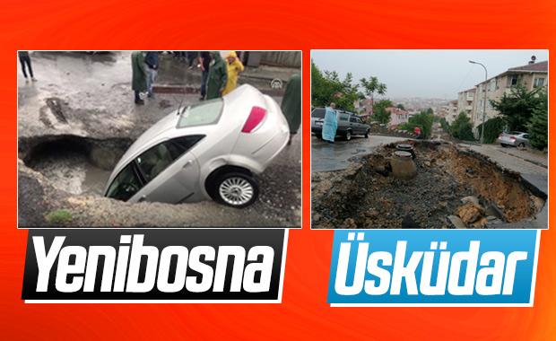 İstanbul'da sağanak sonrası yollar çöktü