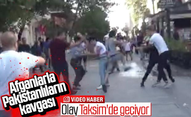 Taksim'de mülteci kavgası