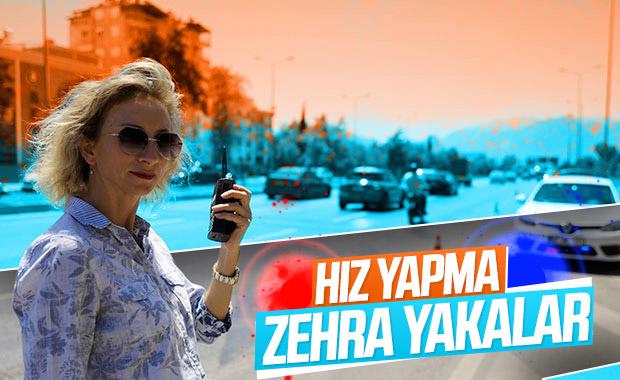Polis memuru Zehra hız yapanı affetmiyor