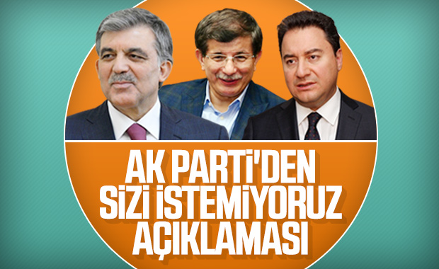 AK Parti'den Davutoğlu, Gül ve Babacan'a davet yok