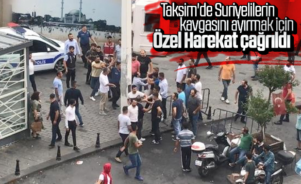 Taksim'de yabancı uyruklu kişiler kavga etti