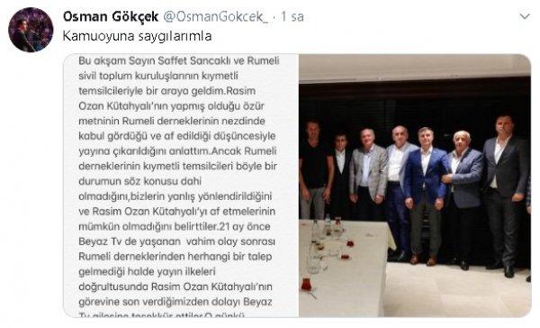 Osman Gökçek: Rasim Ozan Kütahyalı Beyaz TV'de olmayacak