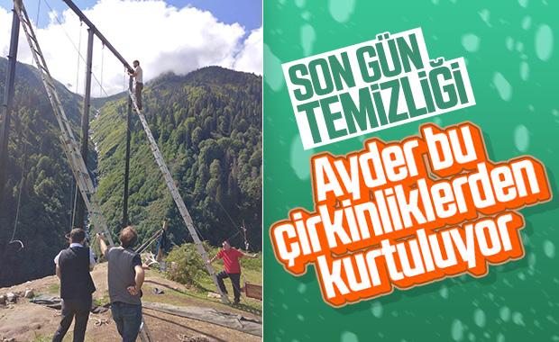 Ayder Yaylası'ndaki salıncaklar sökülüyor