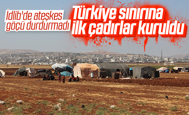 İdlib'den Türkiye sınırına göç