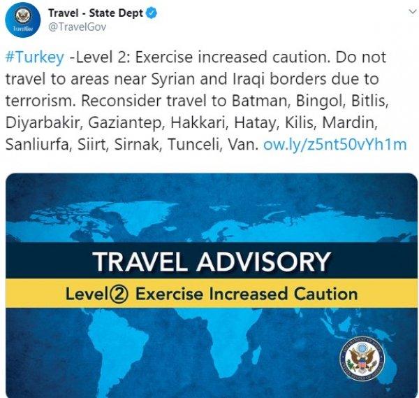 ABD'den Türkiye hakkında seyahat uyarısı
